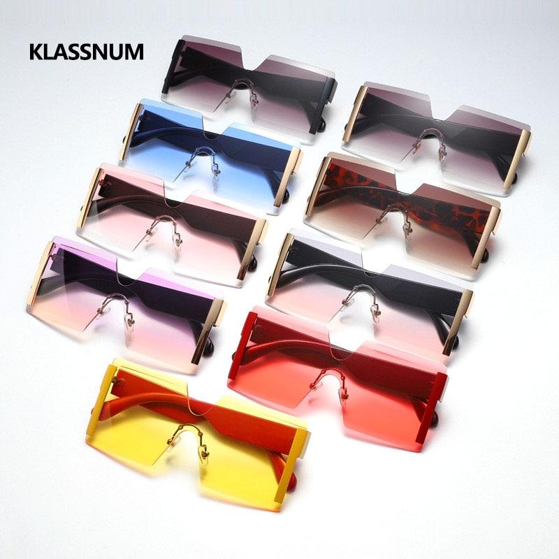 KLASSNUM New Big Frame Oversize Sunglasses Women Brand Designer Rimless Square Shades Vintage Fashio