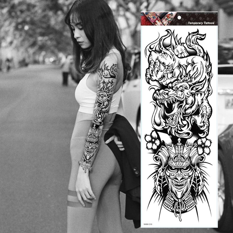 Gran manga de tatuaje para brazo japonés Prajna dragón impermeable temporal tatuaje etiqueta engomada de Dios el arte de cuerpo de la Tatuaje falso los hombres de las mujeres