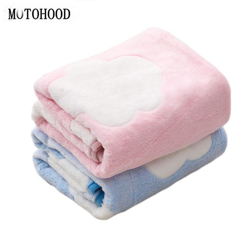 MOTOHOOD Coral Fleece Baby Blanket & Swaddling Newborn Thermal Soft Fleece Blanket Solid Bedding Set Cotton Quilt Infant Swaddle