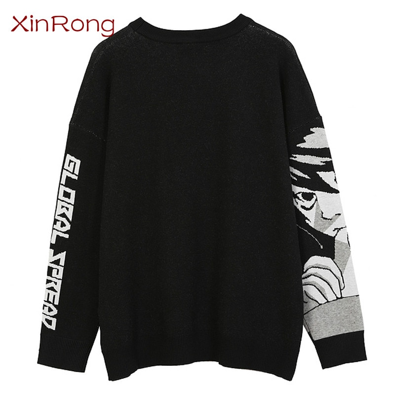 Retro two-dimensional couple cartoon girl knitted loose sweater streetwear 2021 spring and autumn 0-neck casual pullover sweater enlarge