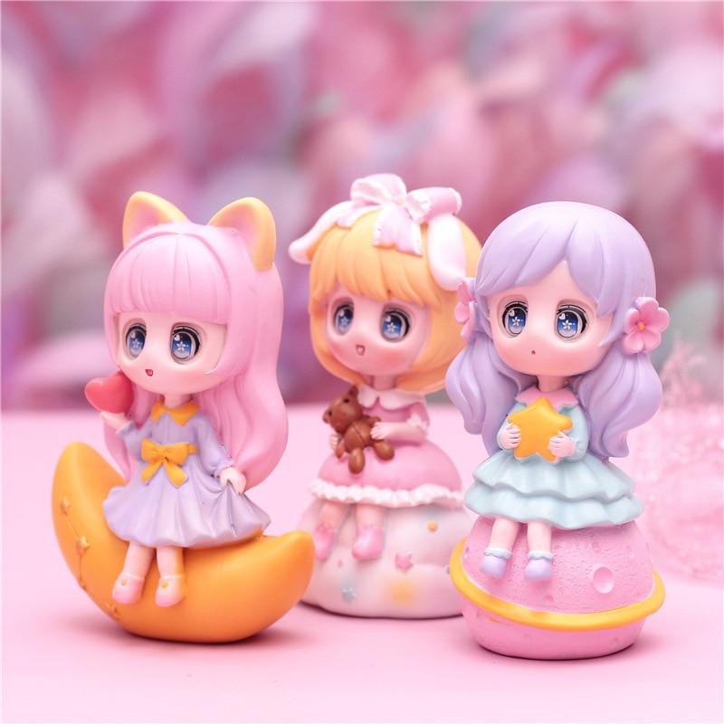 Anime Galaxy Girl Heart Series Cute Cartoon Toy Decoration Desktop Figurines Car Display Resin Crafts Creative Student Gifts
