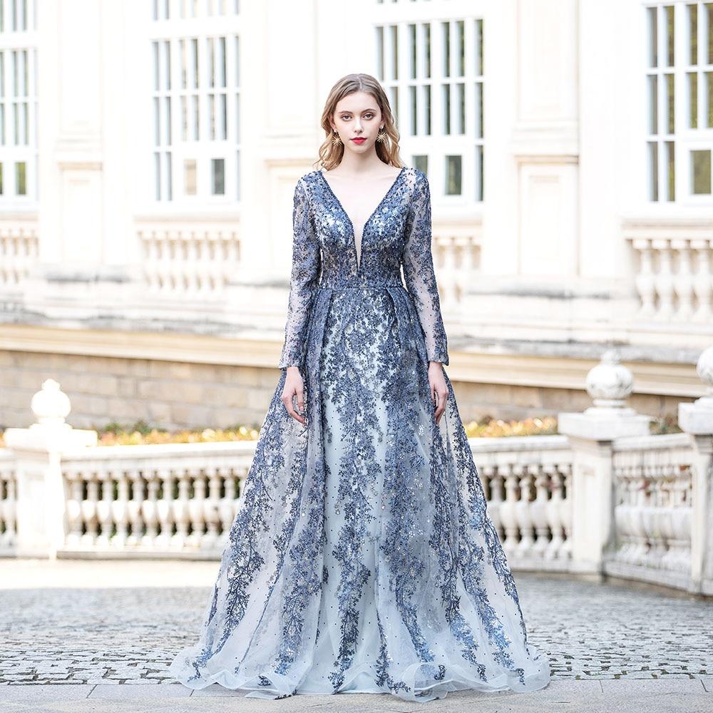 YQLNNE-فستان سهرة مطرز ، أكمام طويلة ، رقبة على شكل V ، دانتيل وكريستال ، كحلي ، دبي ، مقاسات كبيرة ، 2021