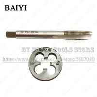 m10x1 m101 standard machine tap straight groove tap circular plate die hand tool set round tapping die tapping thread kit
