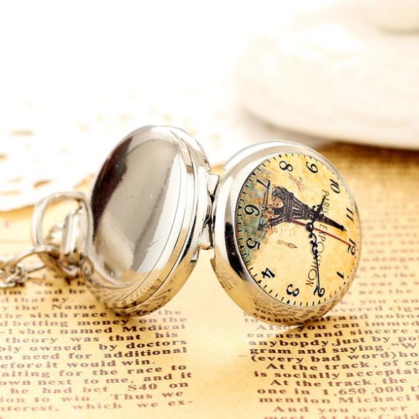 2020 New Fashion Men andWomen Silver Pocket Watch Quartz Stainless Steel Pocket Watch Steampunk Small Pocket Clock Tower Pendant