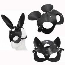 Fétiche tête masque BDSM Bondage restrictions Faux cuir lapin chat oreille lapin masque Roleplay Sex Toy pour femmes Aduls Cosplay jeux