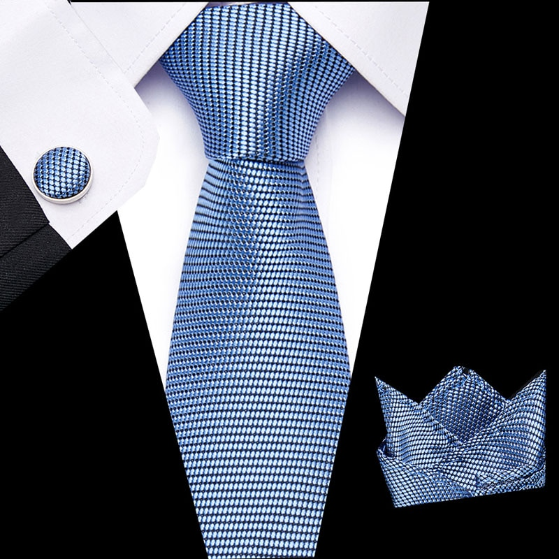 Mens Ties  Solid Blue Paisley Silk Jacquard Tie Hanky Cufflinks Set Business Gift For Men drop Shipping