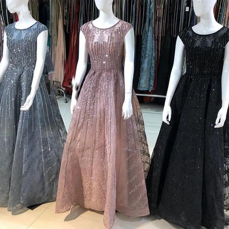 فستان سهرة فاخر بدون أكمام ، فستان سهرة طويل مثير ، ياقة دائرية ، كريستال ، صناعة يدوية ، دبي ، 2020