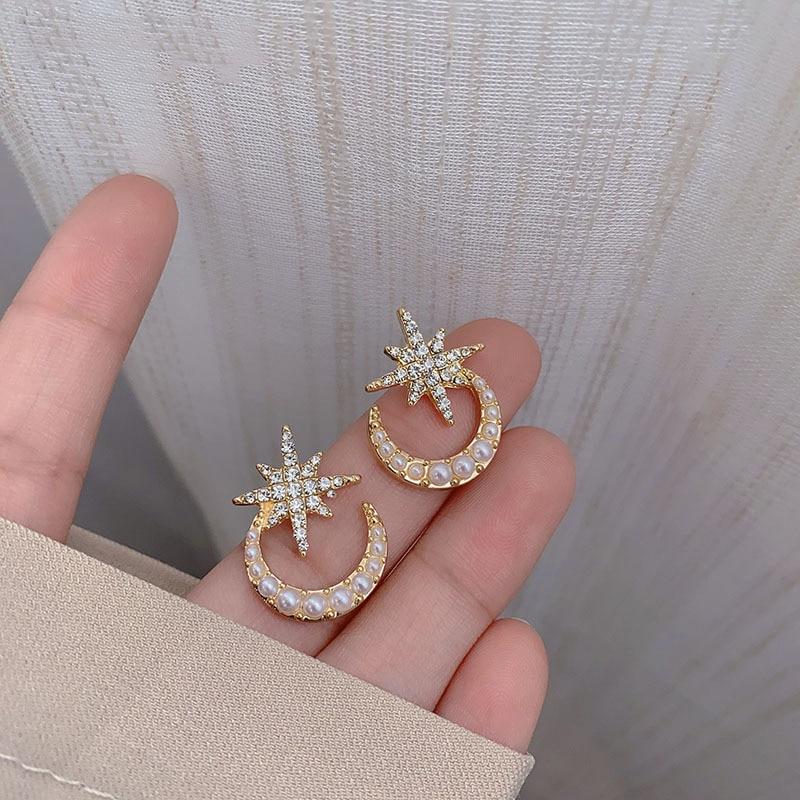 Star moon perle boucles doreilles 2020 nouvelle fée courte douce romance boucles doreilles pour femmes filles corée populaire bijoux boucle doreille