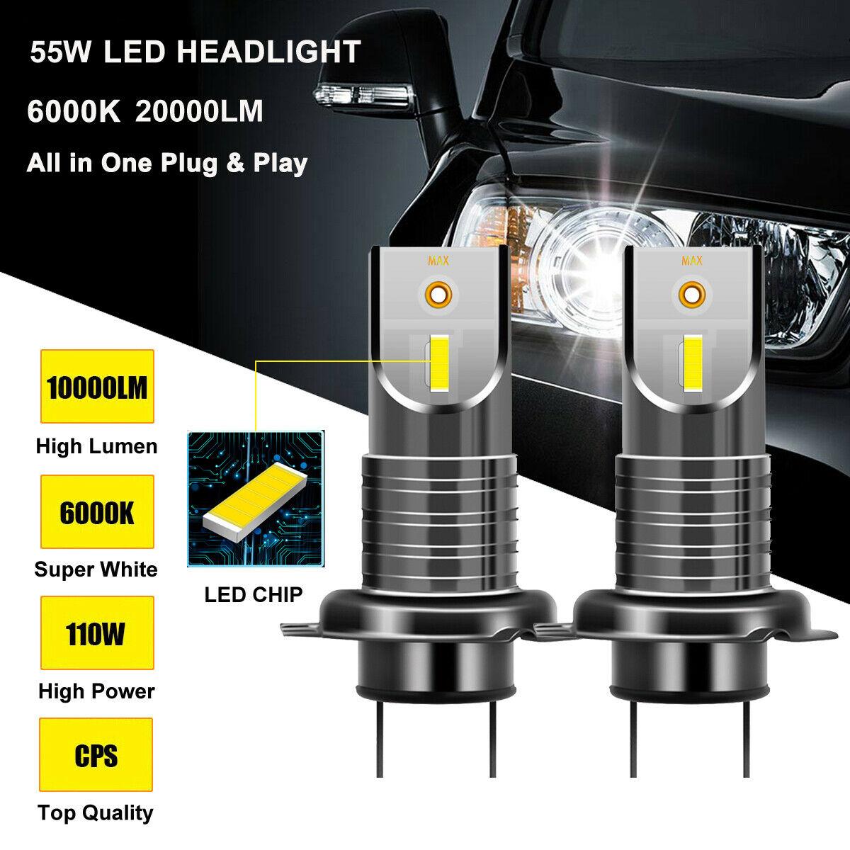 1 Pair H7 110W 5050 CSP LED Headlight Bulb Lamp 20000LM 6000K Waterproof 9V-32V