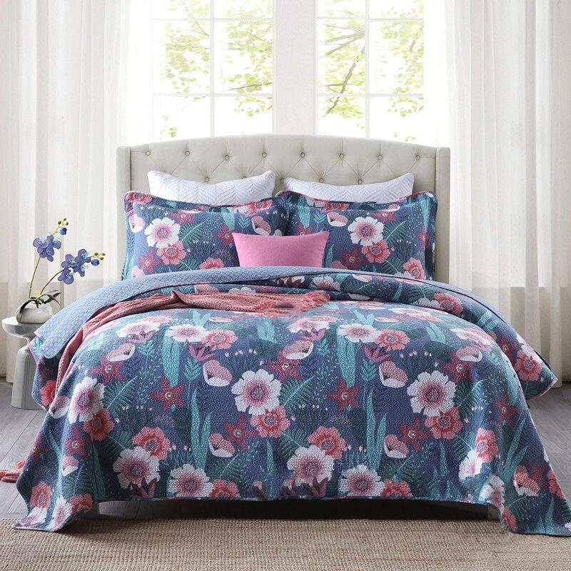 CHAUSUB زهرة طباعة لحاف مجموعة 3 قطعة القطن اللحف المفرش السرير ورقة غطاء وسادة حالة الملك الملكة حجم 230x250 سنتيمتر بطانيات