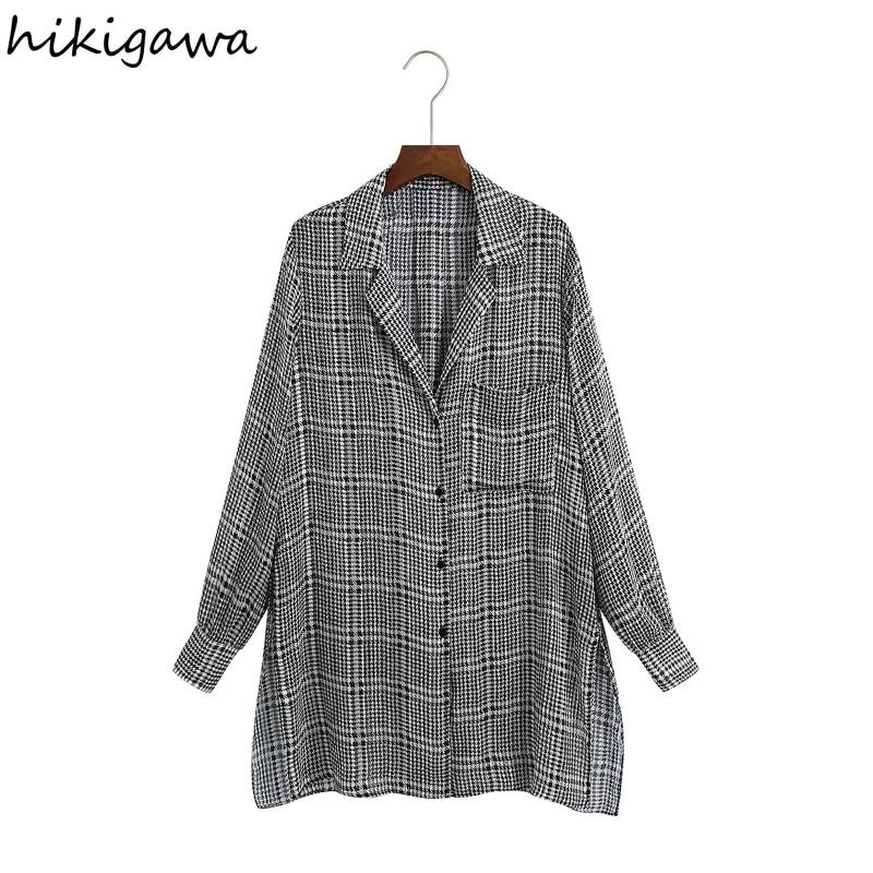 Hikigawa قميص نسائي موضة رفض طوق كم طويل كسول الأدبية منقوشة البلوزات الطويلة Offce السيدات جيب عادية Blusas