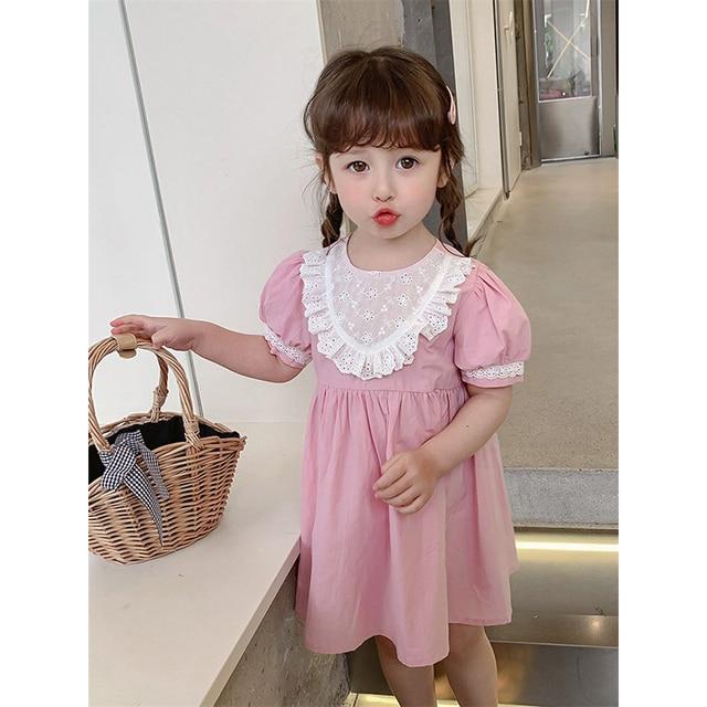 2021 Summer Children Casual Dress Kid Clothes Pasted Cloth Korean Baby Short Sleeve Princess Skirt Kids Dresses for Girls 2