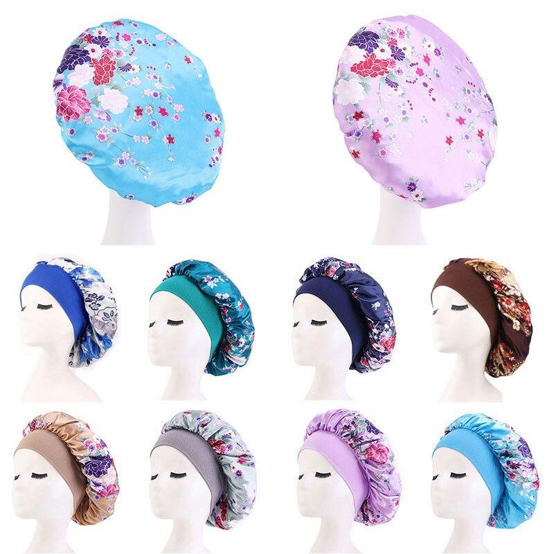 Атласные ночные кепки с принтом, эластичные ночные кепки, женские ночные кепки, удобные кепки для ухода за волосами, многофункциональный пр...