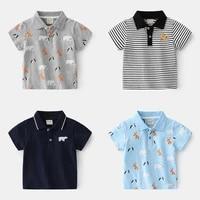 new 2021 kids boys polo shirts fashion cartoon animal print striped short sleeve lapel t shirt baby boys summer tops clothing