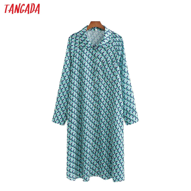 Tangada, camiseta retro Para Mujer con estampado largo de gran tamaño, camisa de manga larga para mujer, camisa holgada informal elegante, blusas femeninas 1D192