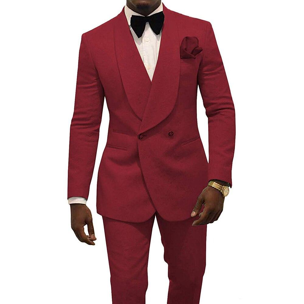 Terno Masculino 2 قطعة شال طية صدر السترة بدلة زفاف رسمية بدلات زفاف مصممة خصيصًا للرجال (جاكيت + بنطلون + ربطة عنق) 2021
