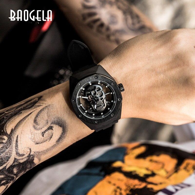 Мужские наручные часы BAOGELA, водонепроницаемые наручные часы с черепом и циферблатом, военные спортивные часы, мужские часы Relogios Masculino 1902