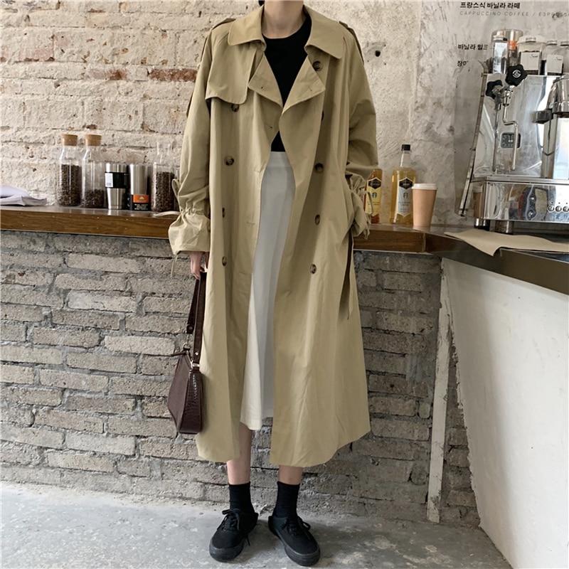 GOOHOJIO-معطف نسائي مزدوج الصدر ، معطف مكتب طويل أنيق وغير رسمي ، لون خالص ، عصري ، 2020