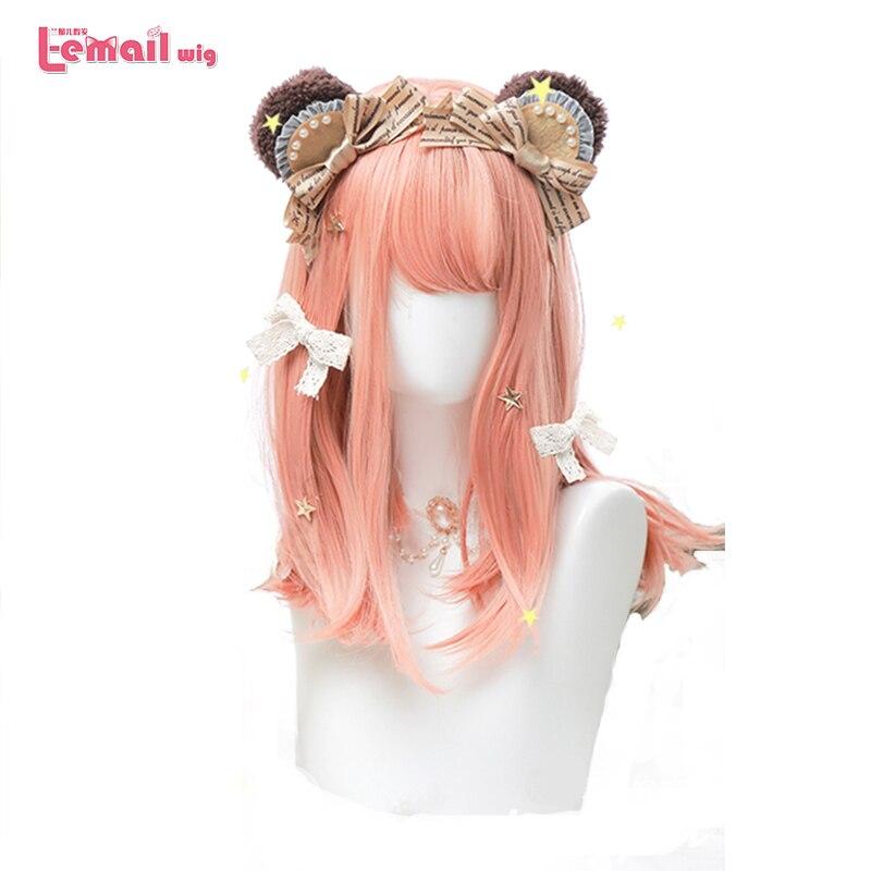 L-email peluca Rosa naranja Lolita pelucas largas y rectas pelucas Cosplay Japaness Harajuku Lolita peluca pelo sintético resistente al calor