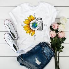 Femmes graphique T-shirt aquarelle femme fleurs haut Vintage impression monde boussole caméra fleur dames Camisas Mujer femmes T-shirt