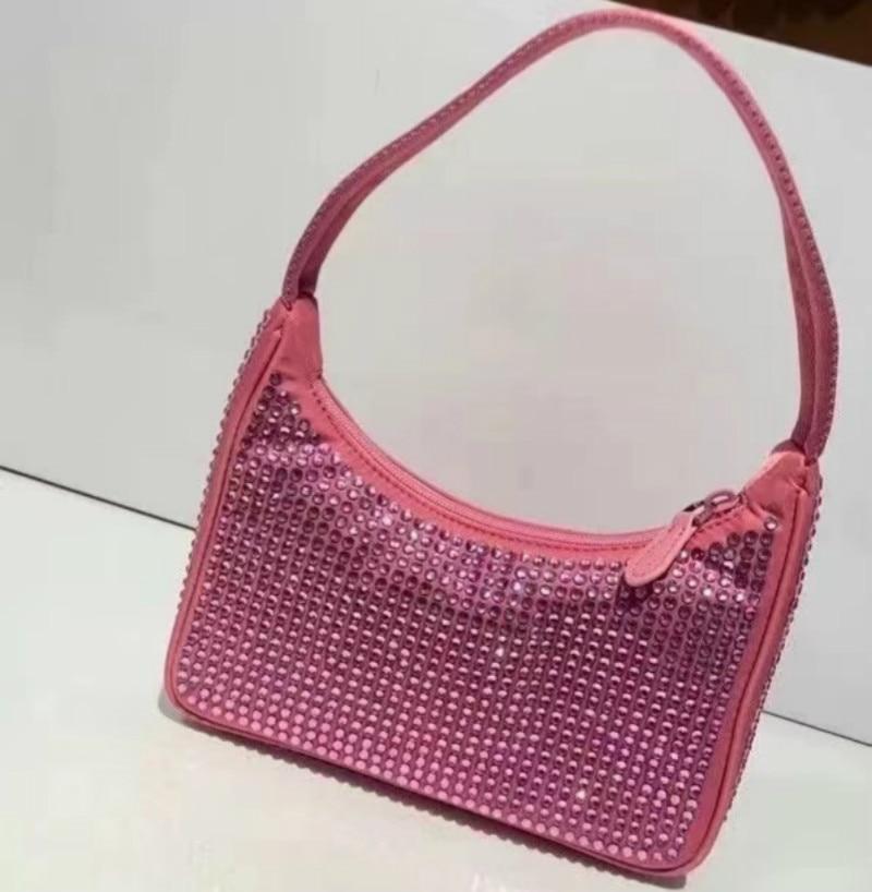 Hiboom جديد أنثى امرأة حقيبة حقيبة كتف حقيبة يد مصمم نايلون جلد طبيعي موضة بنات حقيبة ساع مع الماس