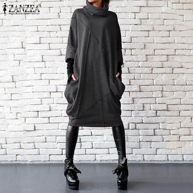 2020 Plus Size ZANZEA Autumn Dress Women Casual Vintage Solid Turtleneck Long Sleeve Sundress Vestidos Female Asymmetrical Robe