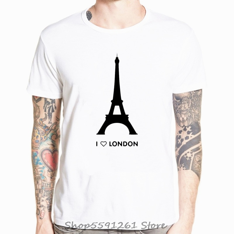 Camiseta con estampado de I Love London para hombre, camisa de moda...