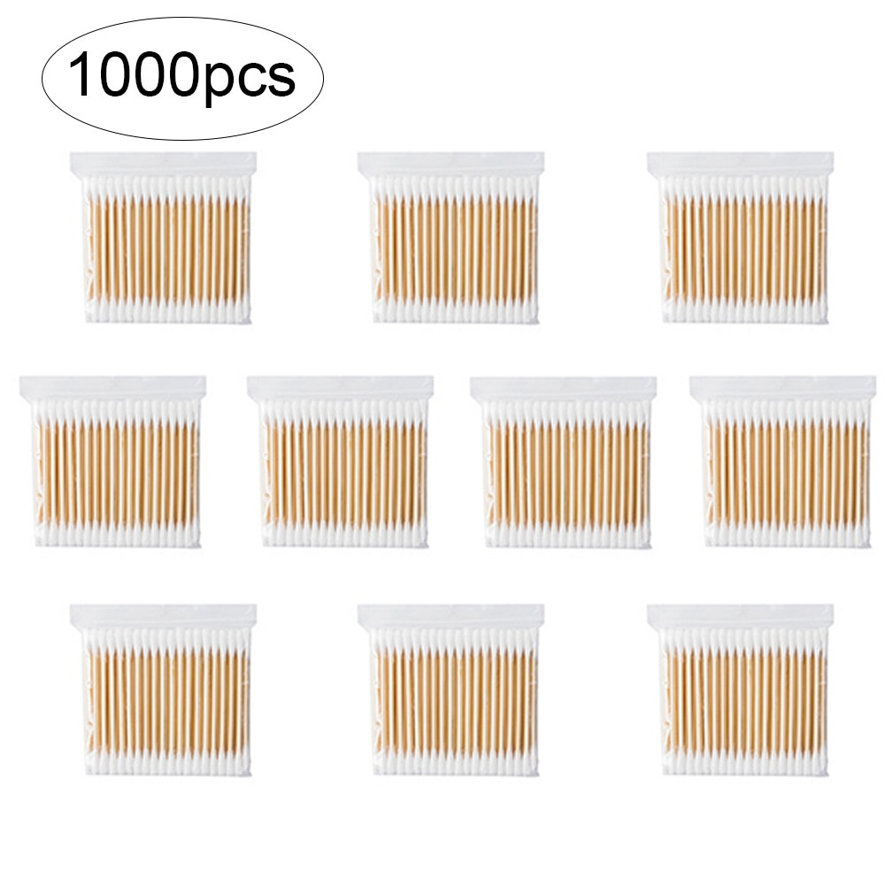 1000pcs Women Beauty Makeup Cotton Swab Double Head Cotton Buds Make Up Wood Sticks Nose Ears Cleaning Cosmetics Health Care
