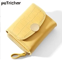 brand small three fold stone pattern design wallet for womens pu leather high capacity zipper mini coin purse card holder ladies