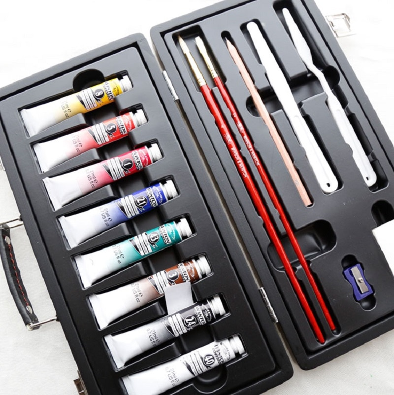 Winsornewton aceite pintura pequeña caja de madera pincel para óleo Digital Pinturas...