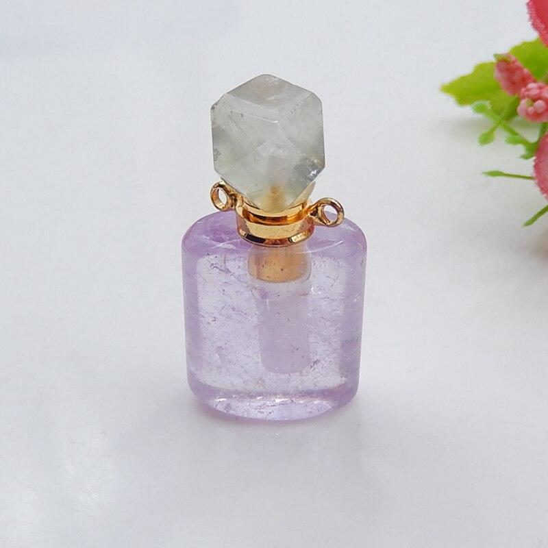 Botella de perfume de tallado A Mano, Prehnita con amatista, para hacer...