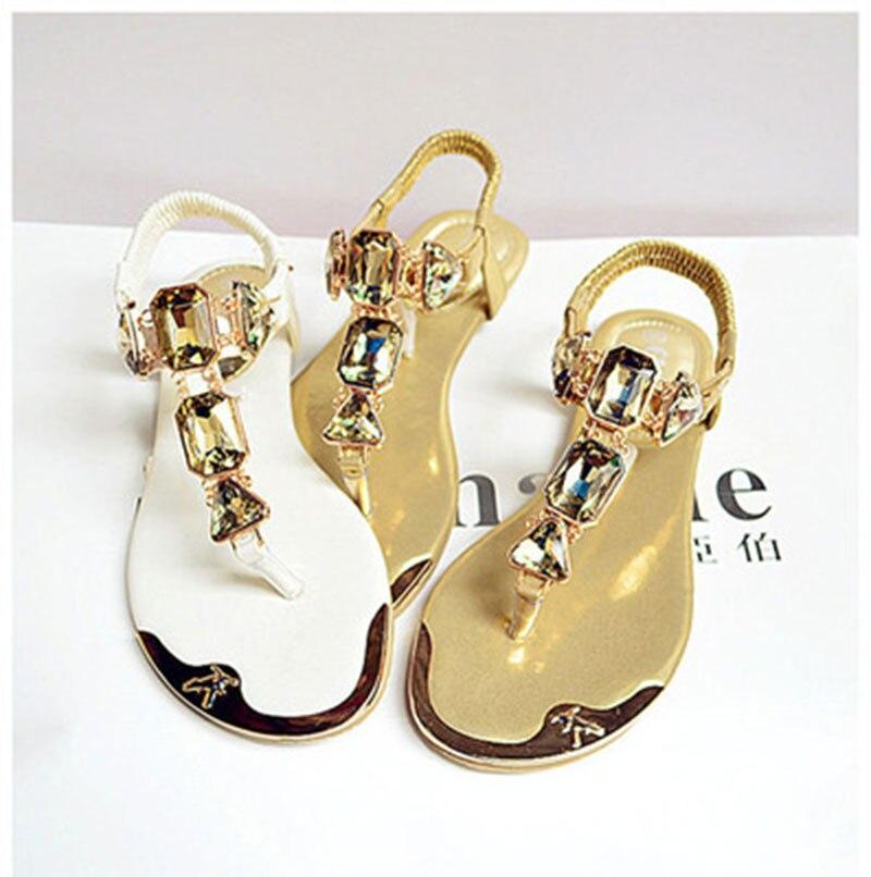 2020 summer new summer women's beach sandals rhinestone elastic band clip toe low to help flat bottom metal head beach shoes sho