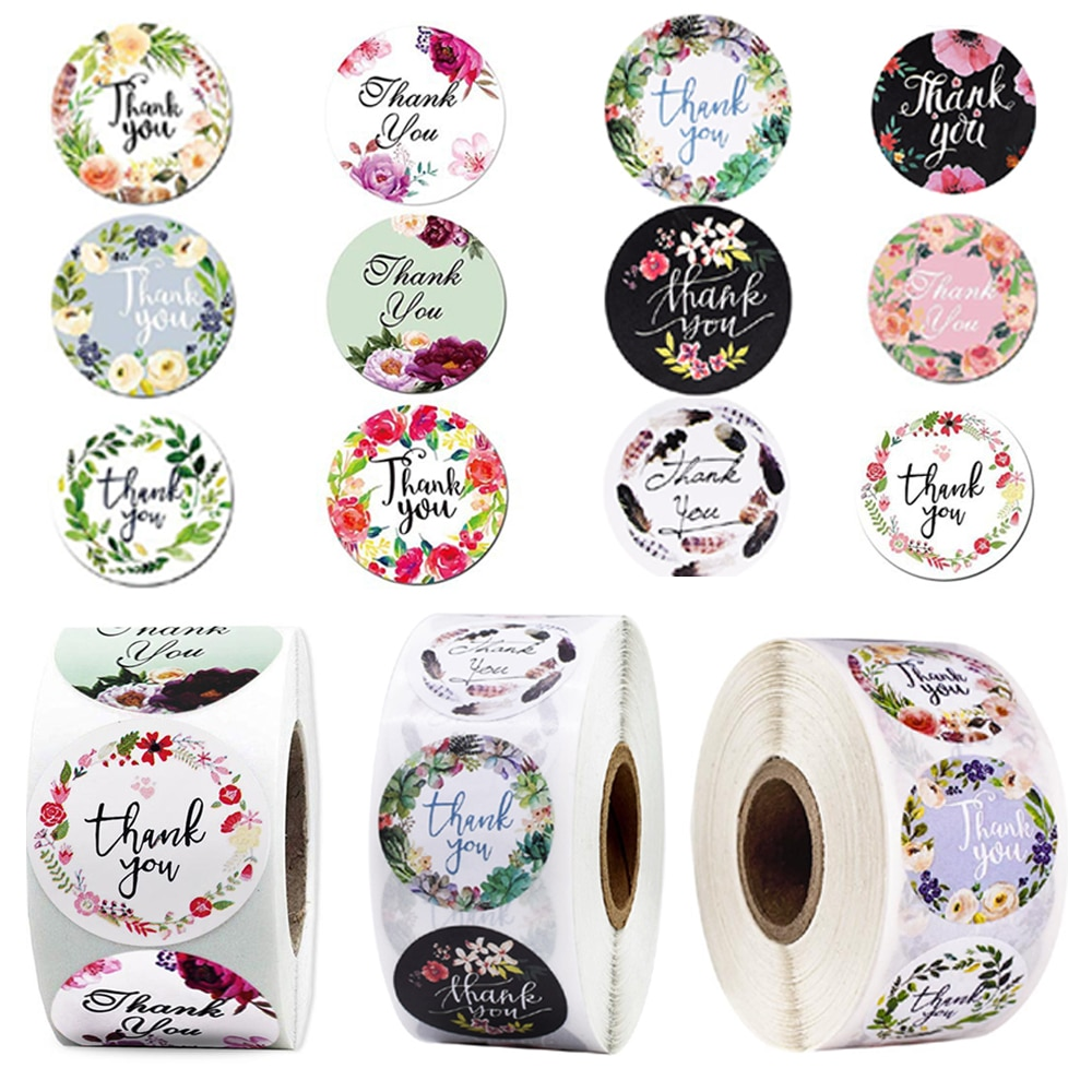100-500pcs Floral Thank You Stickers 1inch Round Floral seal label handmade scrapbooking Envelope Seal stationery sticker