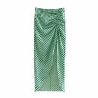 vintage green polka dot pleated women midi skirts elastic waist summer new fashion split elegant skirt