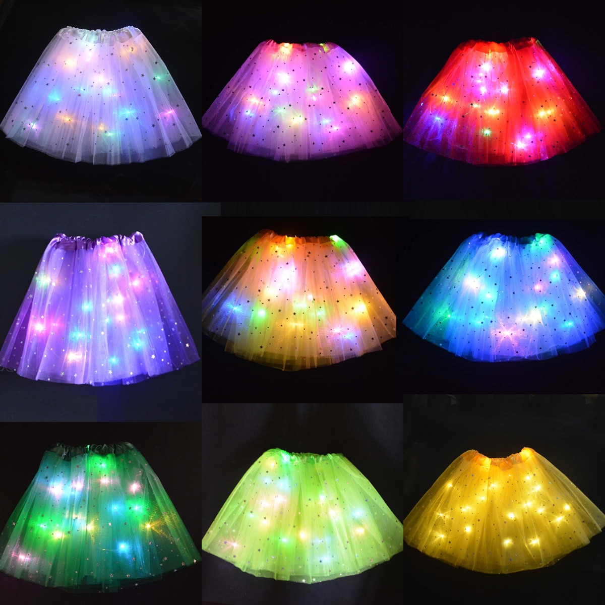 Flower Girl Kids Star LED Glowing Tutu Lighted Skirt Princess Party Tulle Pettiskirt Ballet Birthday Gift Costume Wedding Skirts