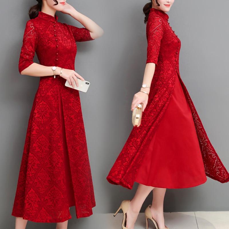 Summer Women Long Dresses Korean Fashion Chinese Dress Women Elegant Red Vintage Lace Dress Plus Size Casual Loose Party Dress