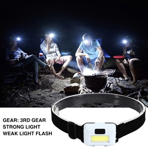 COB LED Waterproof Headlight 3 Modes 3W Outdoor Bike Cycling Camping Headlamp for Outdoor Camping Night Fishing