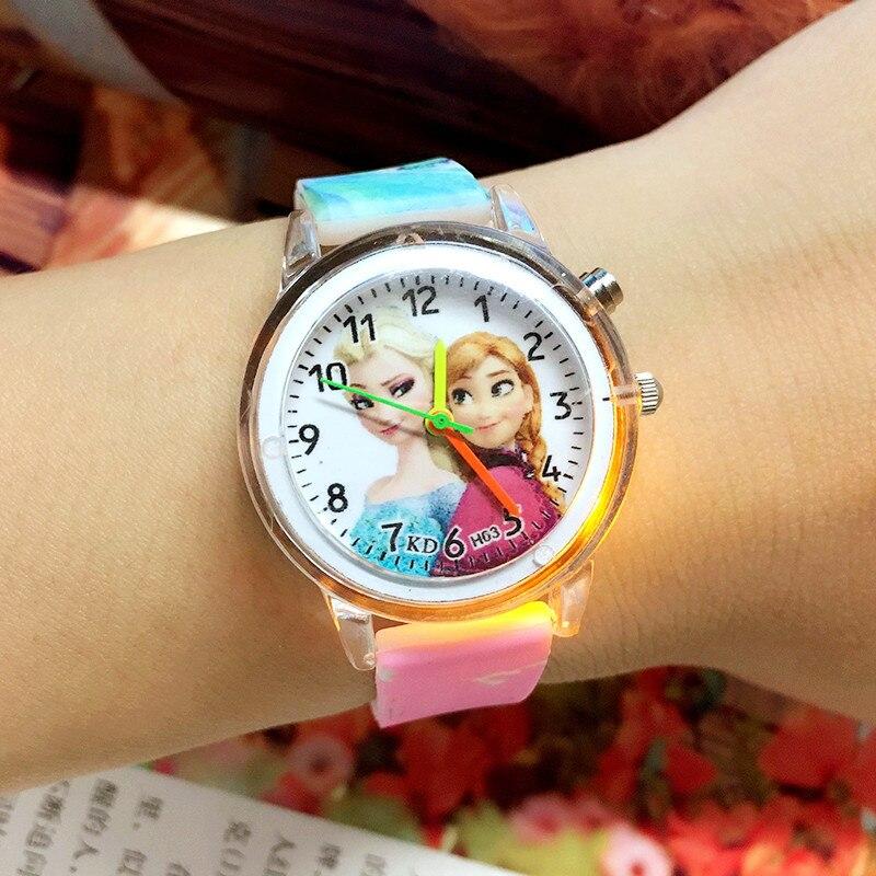 Cartoon Cute Colorful Light Silicone Quartz Watch Children Kids Girls Fashion Bracelet Luminous Wris