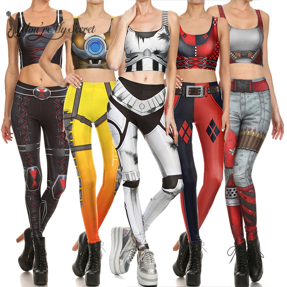 [You're My Secret] 2019 Star Wars Cosplay Costume For Women Wonder Captain America Deadpool Woman Croped Tops Leggings Sets