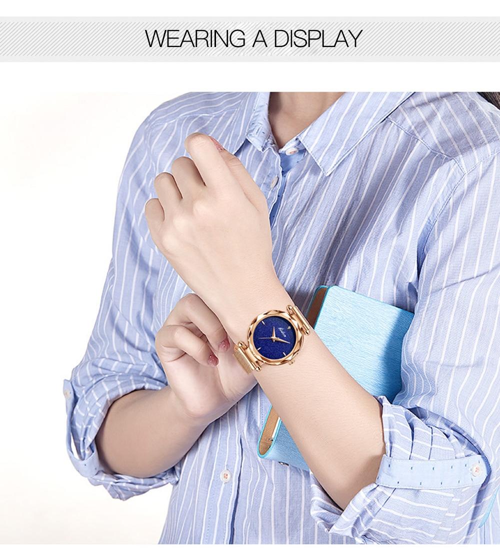BIDEN Reloj Mujer Creative Blue Dial Romantic Women Watch Rose Gold Mesh Waterproof Top Brand Rhinestones Wrist Watches Dropship enlarge