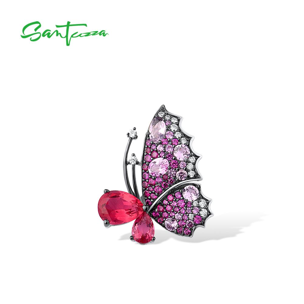 SANTUZZA قلادة فضية للنساء نقية 925 فضة حساسة الوردي فراشة خلق روبي الياقوت العصرية غرامة مجوهرات