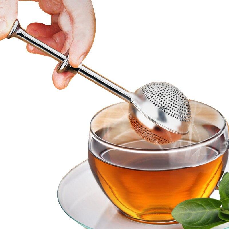 Jeringa retráctil de acero inoxidable para zona de té, filtro de té, colador de té, dispositivo para hacer té