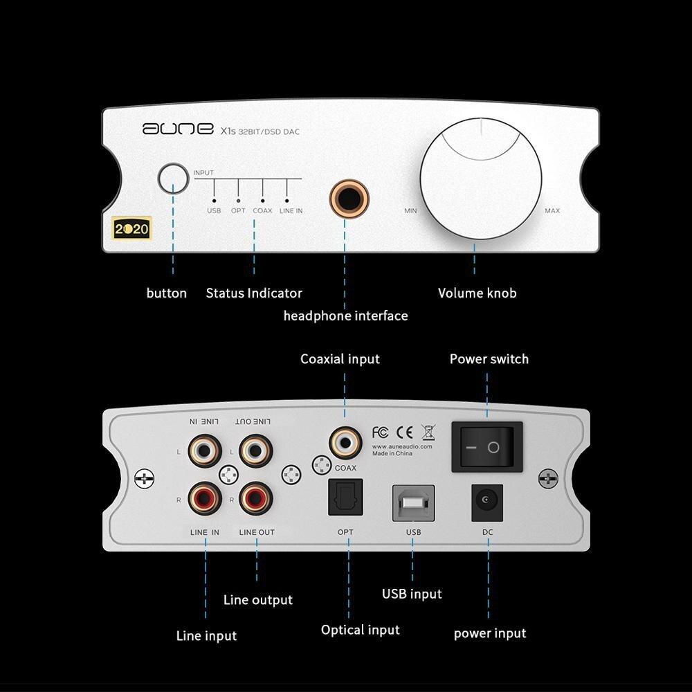 AUNE X1S 2020 Home HIFI DAC Headphone Amplifier ES9038Q2M DSD512 USB DAC Headphone Amp 32BIT/768K DOP128 DOP64