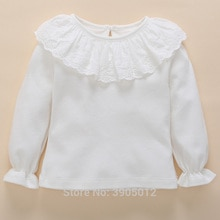 Nouveau-né bébé vêtements hauts T-Shirts à manches longues décontracté blanc dentelle coton enfants t-shirt bébé filles tenues 0-3-6 mois bambin hauts