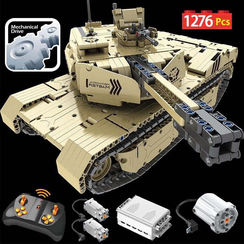 1276 шт 2,4G RC танк M1A2 модель строительные блоки техника военный пульт дистанционного управления 50 м расстояние танк Кирпичи игрушки для мальчи...