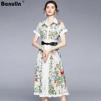banulin women summer elegant dress shirt high quality vintage office party robe femme floral designer casual vestidos n55128