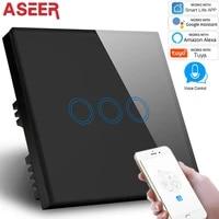ASEER     Kit de commutateur declairage intelligent pour maison connectee  commutateur declairage  wi-fi  3 boutons  1 voie  commande par application  1000W  fonctionne avec Alexa et Google Assistant  Standard britannique