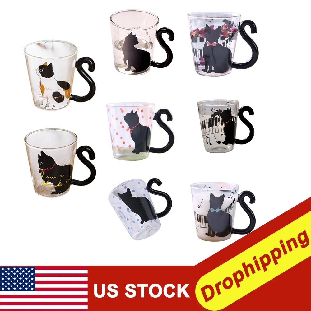 Lindo creativo gato leche taza de café agua vidrio taza jarro de té taza de dibujos animados taza para el hogar y la Oficina para jugo de fruta tazas de café aisladas