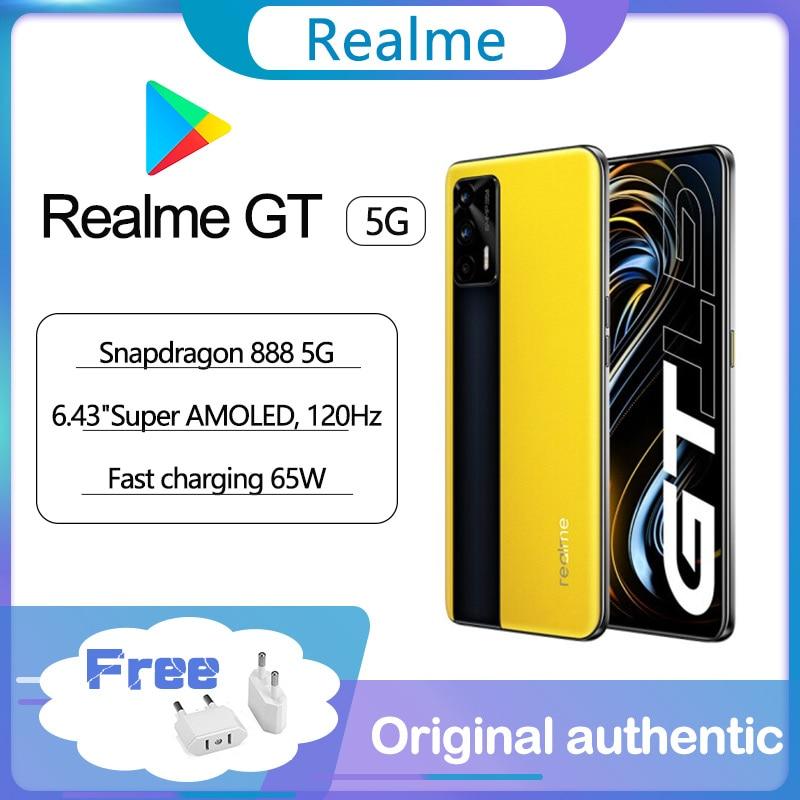 Оригинальный Realme GT 5G смартфон 120 Гц 6,43 дюйм Super AMOLED Экран Snapdragon 888 Стекло тела 4500 мА/ч, 65 Вт супер зарядки Android 11