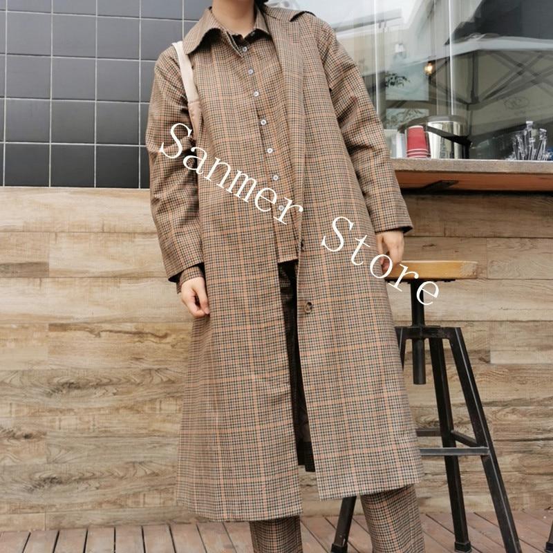 المرأة طويلة خندق منقوشة بدوره إلى أسفل طوق واحدة الصدر مستقيم Vintage فضفاضة طويلة الأكمام جيب السيدات معطف 2021 أوائل الخريف